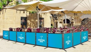 Outdoor view in one of  cozy cafe.Barcelona, Catalonia, Spain